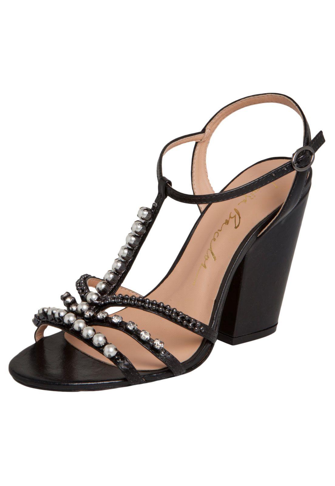 944ed4a02 sandalia salto grosso salomé strass - Compre Agora