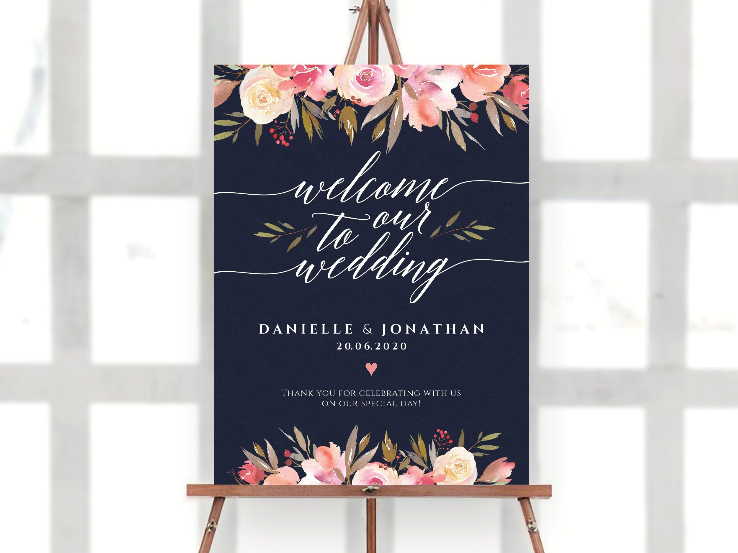 DIY Welcome Sign Welcome to Our Wedding Wedding Welcome Sign Template printable welcome sign ecc-01 Navy Blue Welcome