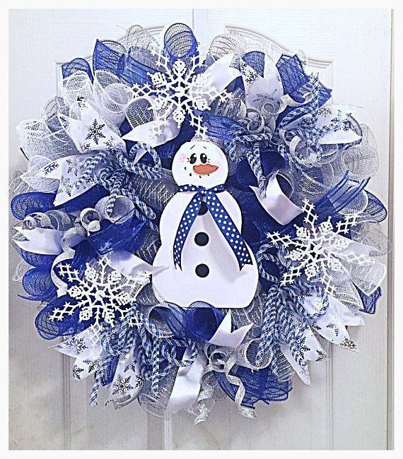 Snowman Snowflake Deco Mesh Wreath/Blue Snowman wreath/snowflake wreath/Christmas snowflake wreath/Christmas snowman wreath #decomeshwreaths