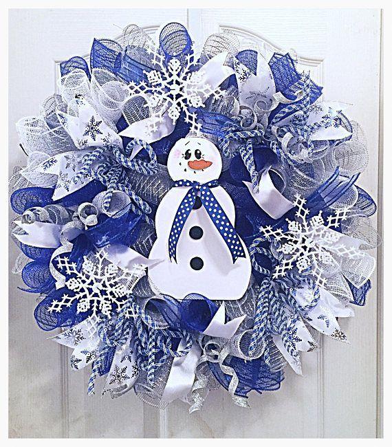 Snowman Snowflake Deco Mesh Wreath/Blue Snowman wreath/snowflake wreath/Christmas snowflake wreath/Christmas snowman wreath #decomeshwreaths