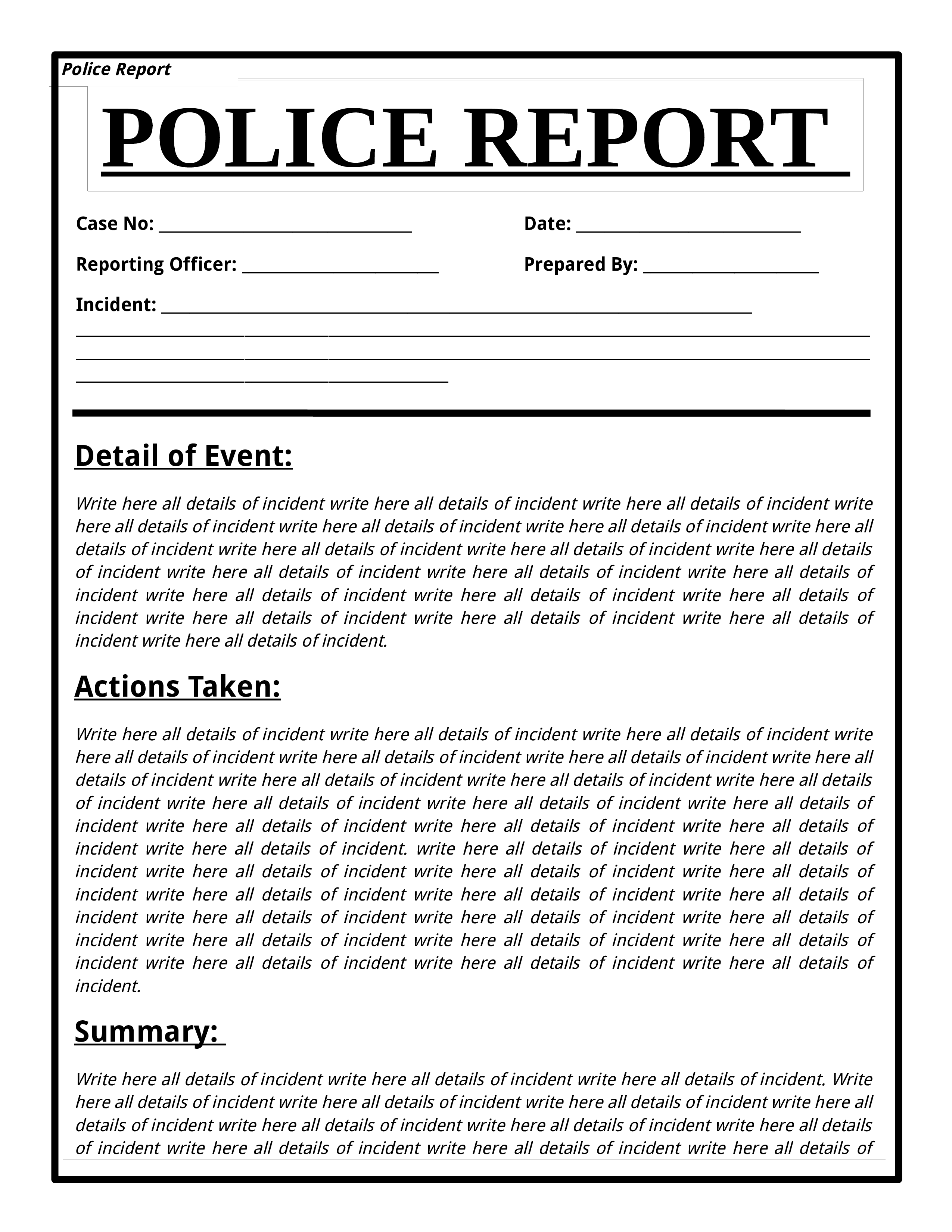 Free Police Report Template Download this Police Report