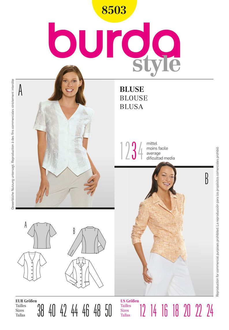 Simplicity Burda Style Blouse/Top Pattern 8503 | Vibes & Scribes ...
