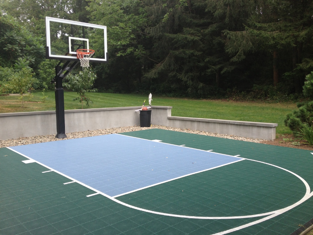 Backyard Half Court With A Hill Basketball Court Backyard Backyard Basketball Indoor Basketball Court