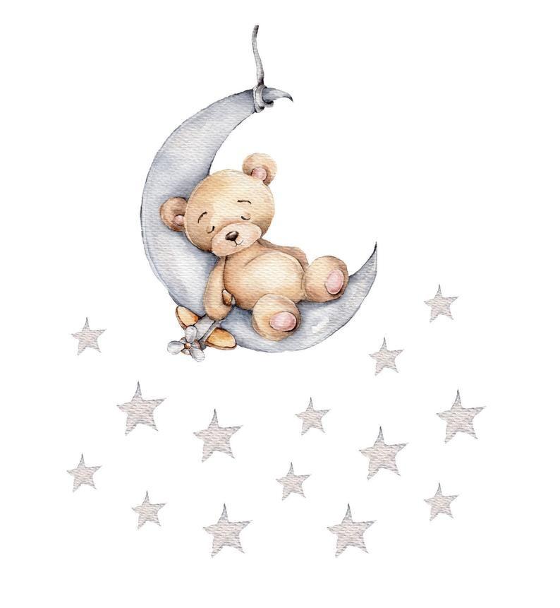 Mond Bar 29 X 41 Cm 13 Sterne Wandtattoo Wandsticker Wall Etsy Teddybar Bild Kinderkunst Baby Poster