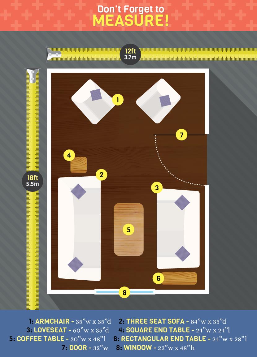 standard measurements for living room furniture