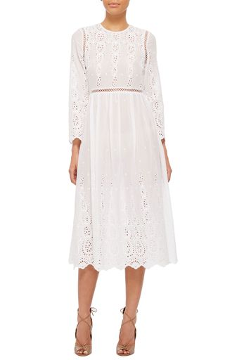 Silk Cotton Voile Broderie Long Sleeved Dress by ZIMMERMANN Now Available on Moda Operandi