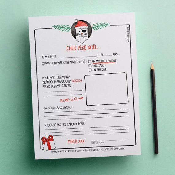 Lettre au Père Noël   GRATUIT   Modèle de lettre pour liste de