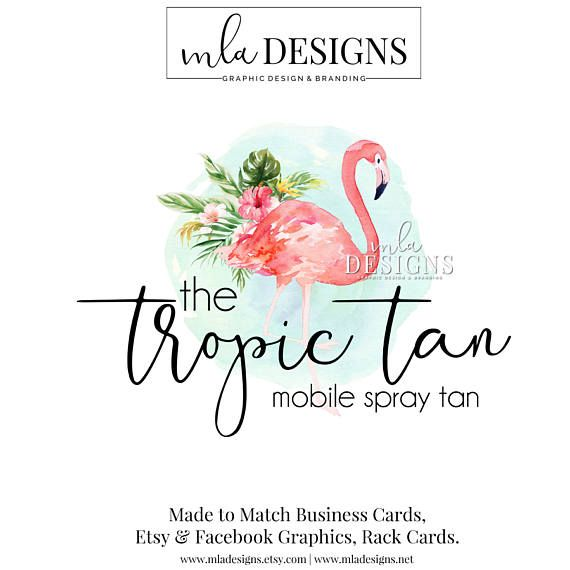 Wedding Branding Ideas: Flamingo Logo Tanning Logo Tropical Logo Hawaiian Logo