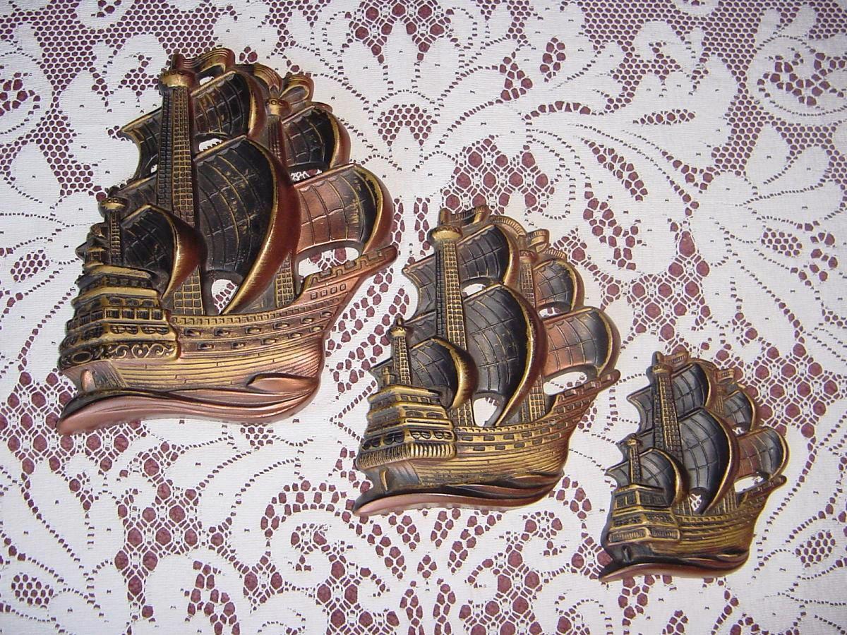Vintage 1964 Nautical/Sail Ships MILLER STUDIO Bronze-Black Chalkware Wall Art Plaques.