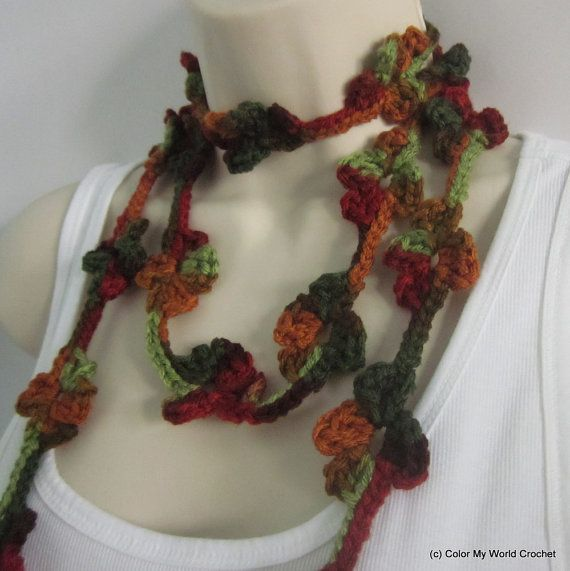 Crochet Flower Necklace  Flower Lariat  by ColorMyWorldCrochet