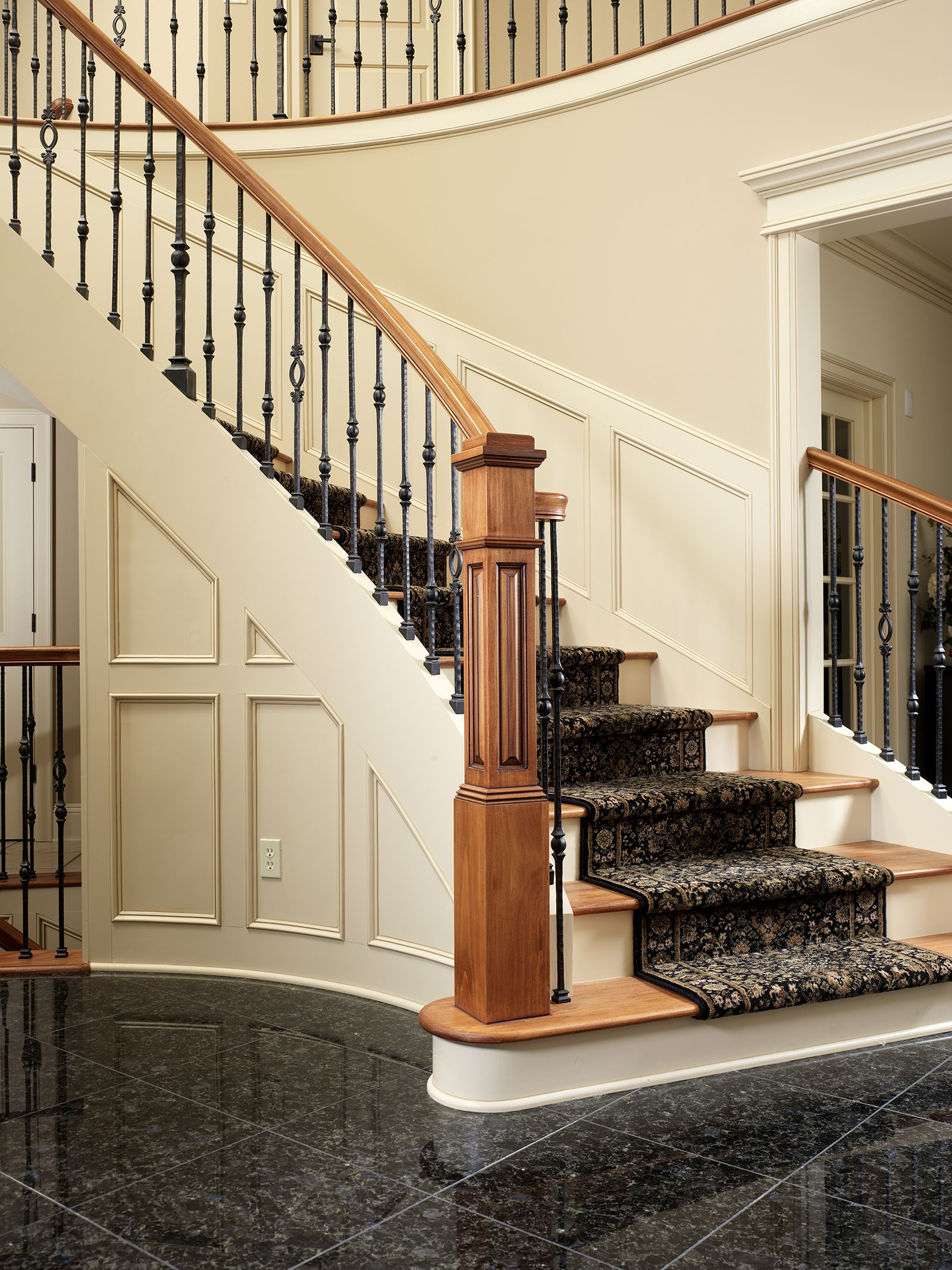 Best Custom Cherry Handrail Raised Panel Box Newel And Flat 400 x 300