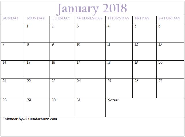 January Calendar  Calendar Buzz    Blank Calendar