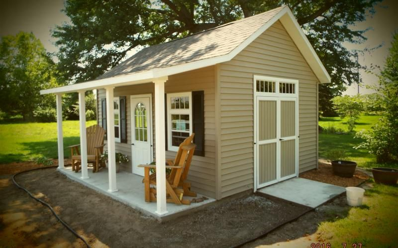 12x16 Garden Shed With Porch Warsaw Indianapolis Chicago Fort Wayne Frankfort Lafayette Lo Cottage Garden Sheds Shed With Porch Backyard Storage Sheds
