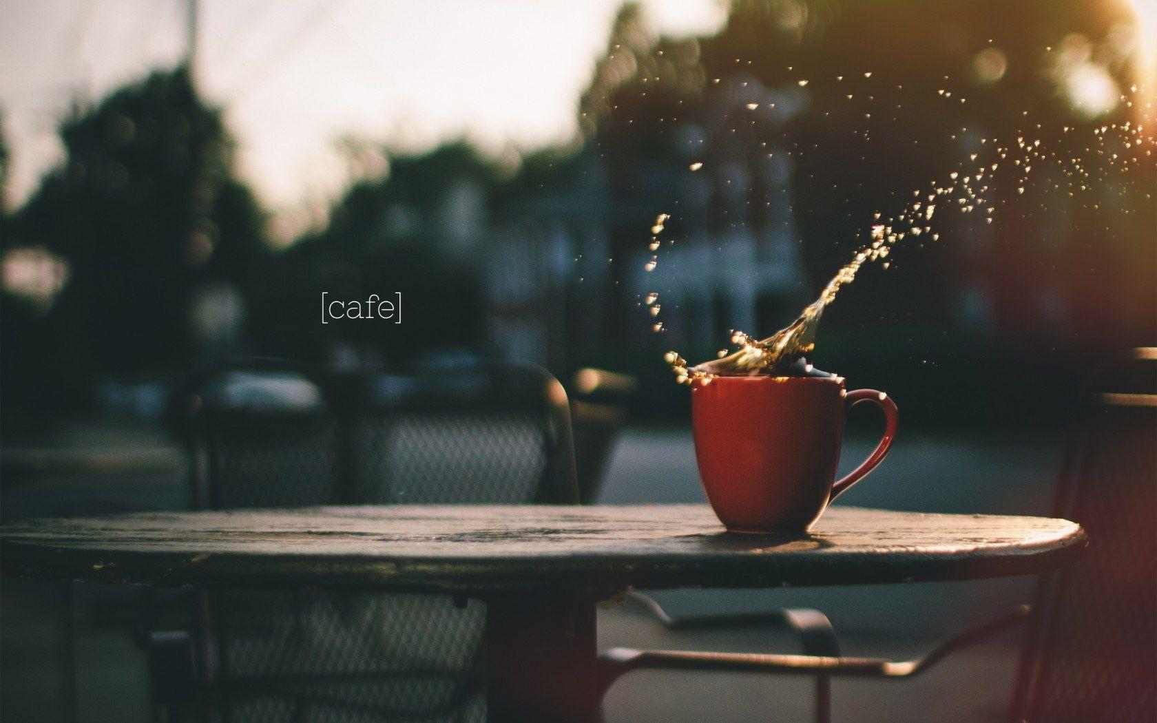 Cup of Coffee Splash City HD Wallpaper