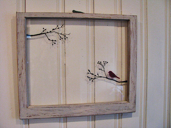 Old Window Bird On A Tree Branch Hand Painted By