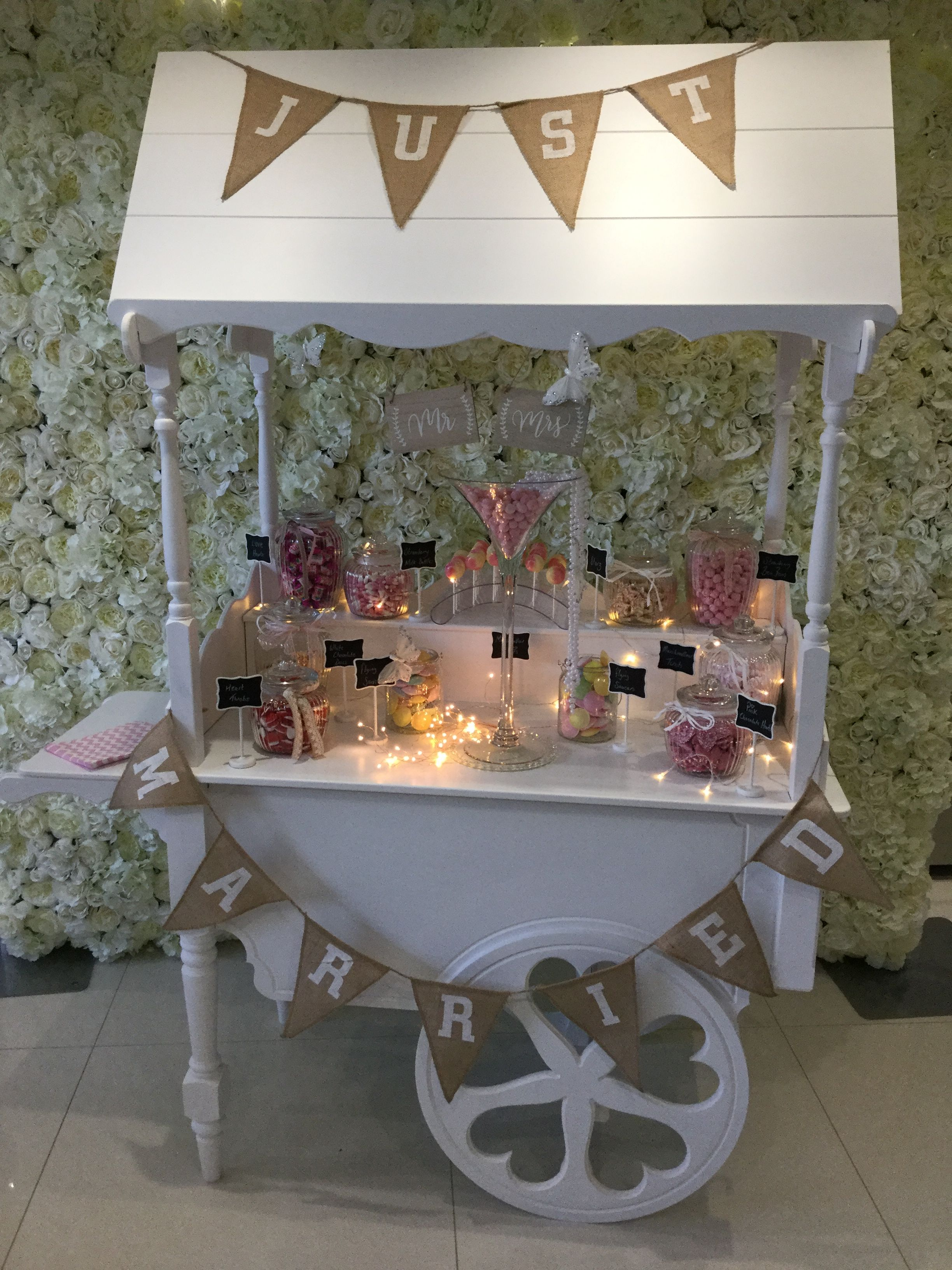 Bella Occasions shabby chic wedding Candy Cart Candy bar
