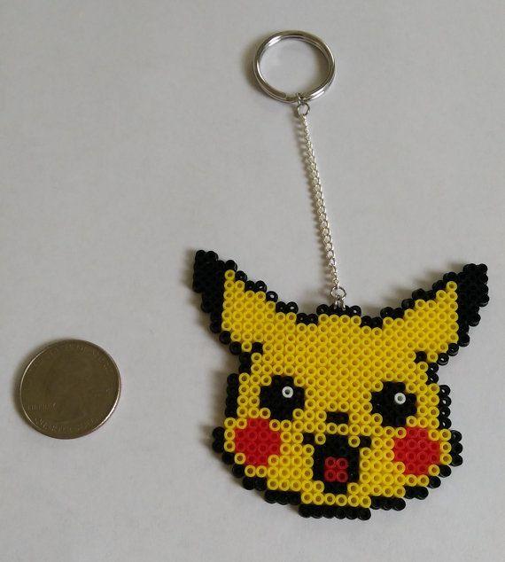 Pikachu Pokemon Perler Keychain 7 On Etsy Holiday Gift Avec Images Pokemon Perle Perles A Tisser Billes De Fer