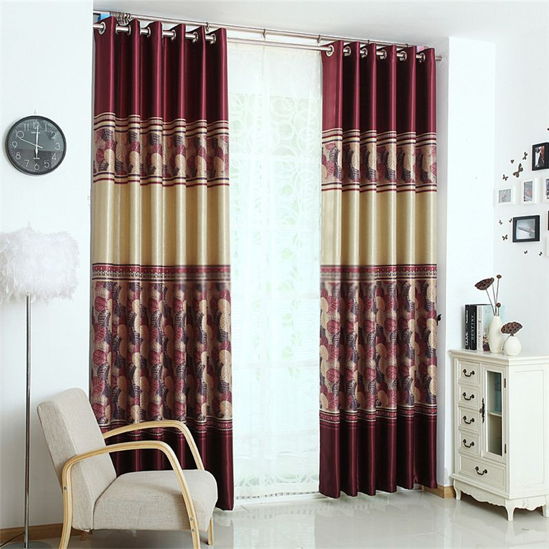Leaf Print Curtains Of Burgundy Color