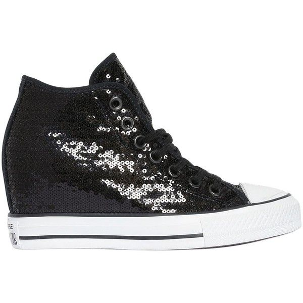 Converse Women 80mm All Star Sequined Wedged Sneakers ($155) ❤ liked on Polyvore featuring shoes, sneakers, black, wedge shoes, wedged sneakers, eyelets shoes, rubber sole wedge shoes and wedge heel shoes