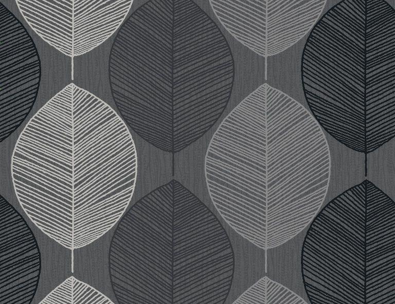 Arthouse Opera Retro Leaf Black Silver Taupe Wallpaper Design Pattern Pattern Wallpaper Retro Wallpaper