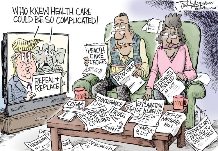 Image result for CARTOON ON TRUMP HEALTHCARE IS COMPLICATED
