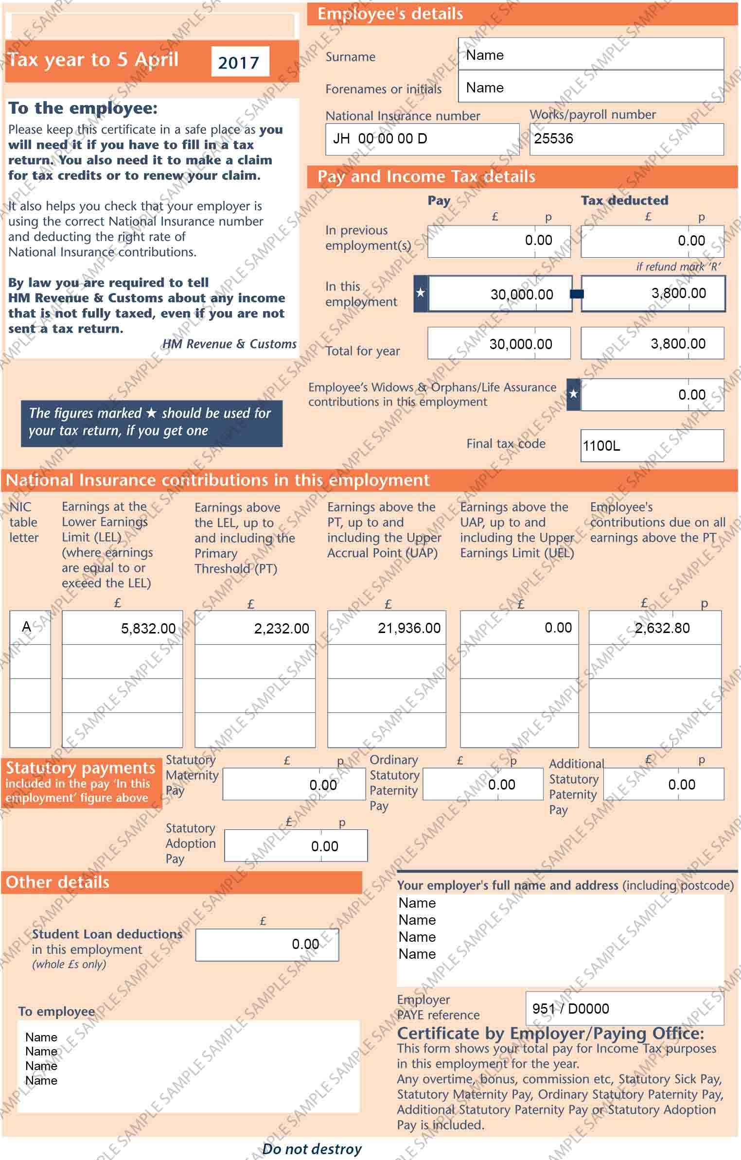 HMRC P60 Digital Copy National insurance number, Tax