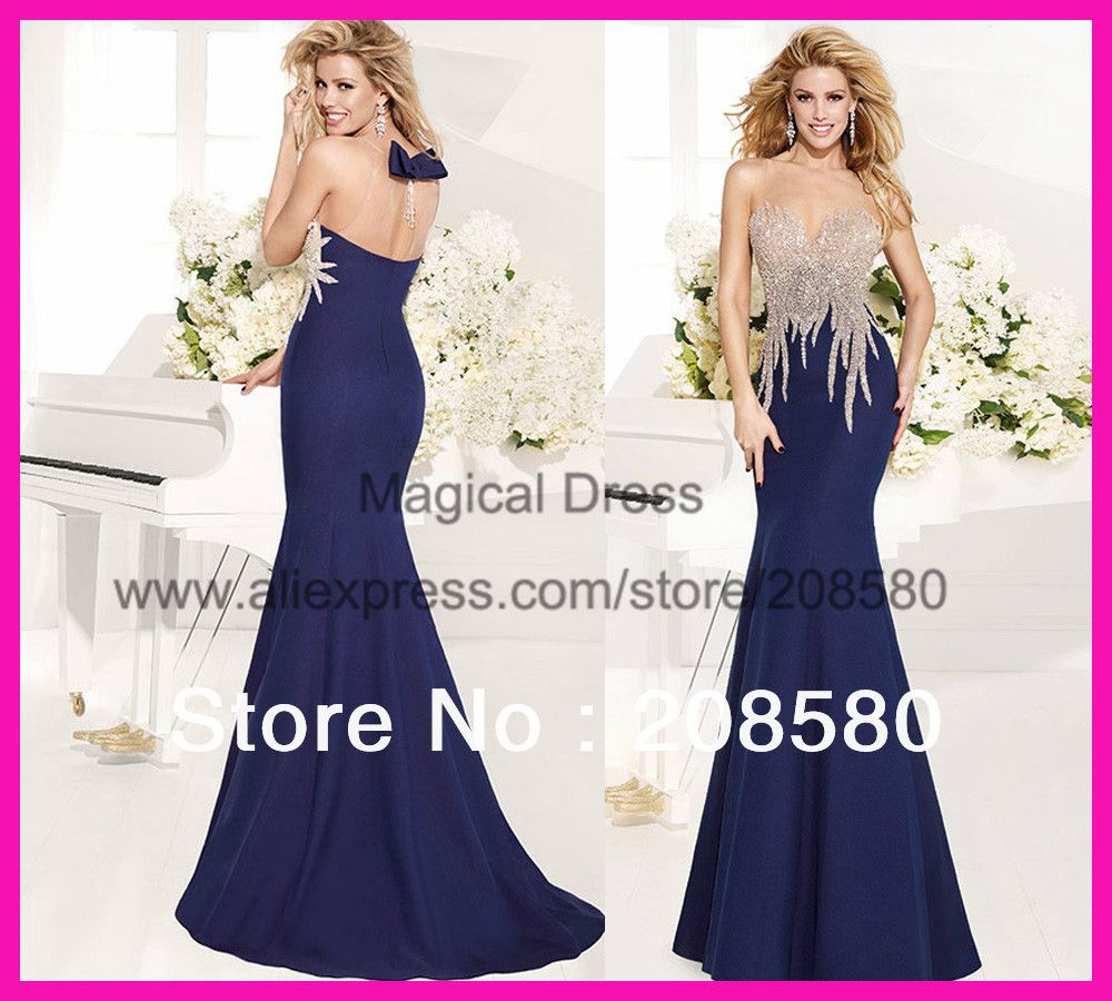 2014 Exquisite Beaded Navy Blue Mermaid Tarik Ediz Evening Dress ...