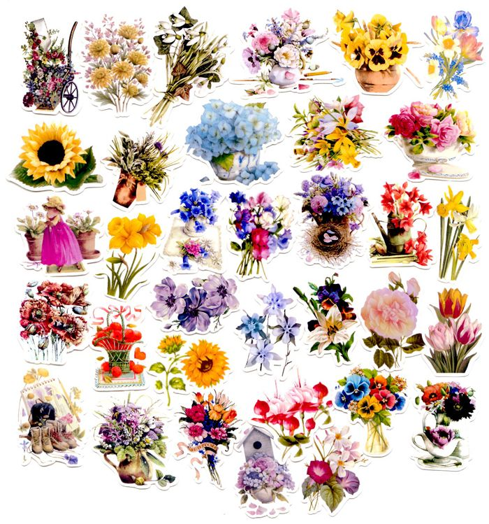 34pcs self made beautiful flower scrapbooking stickers floral decorative sticker diy craft photo albums decals
