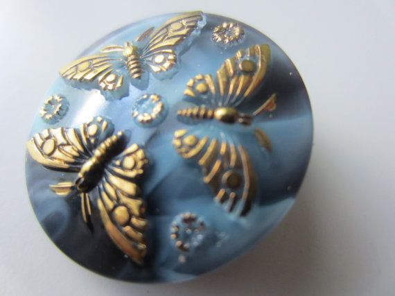 Vintage ButtonCzech Glass beautiful butterfly by pillowtalkswf, $3.95
