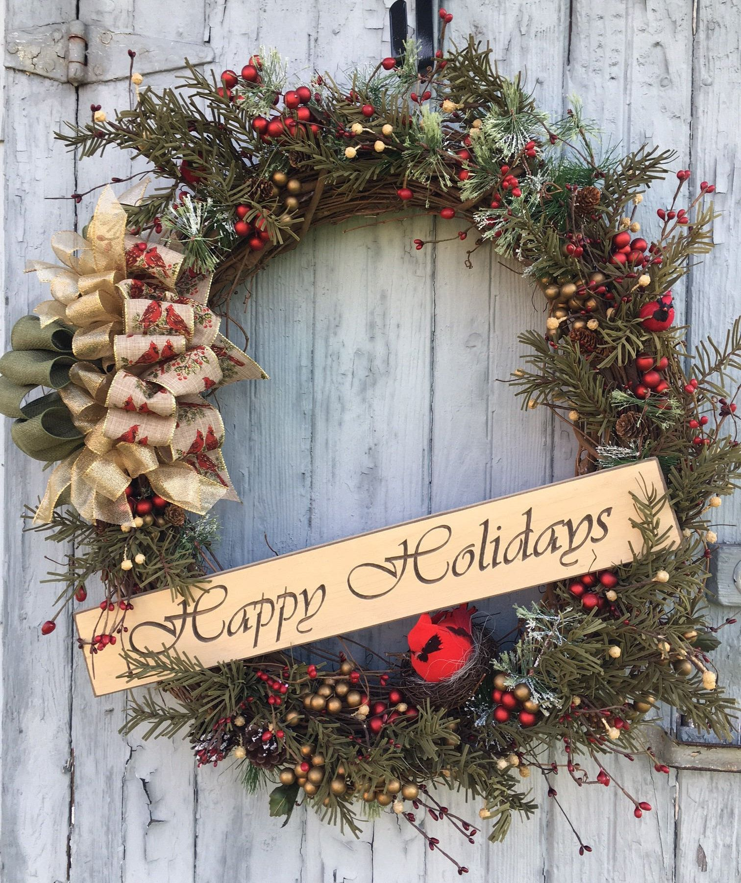 Extra Large Happy Holidays Red Cardinal Christmas Wreath By Gigishandmadewreaths On Etsy Christmas Wreaths Engraved Wood Signs Holiday Red