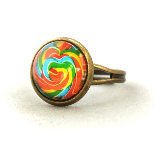 ON SALE Ring Colourful Rainbow Candy Yummy Sweetie by timegemstone, £3.59