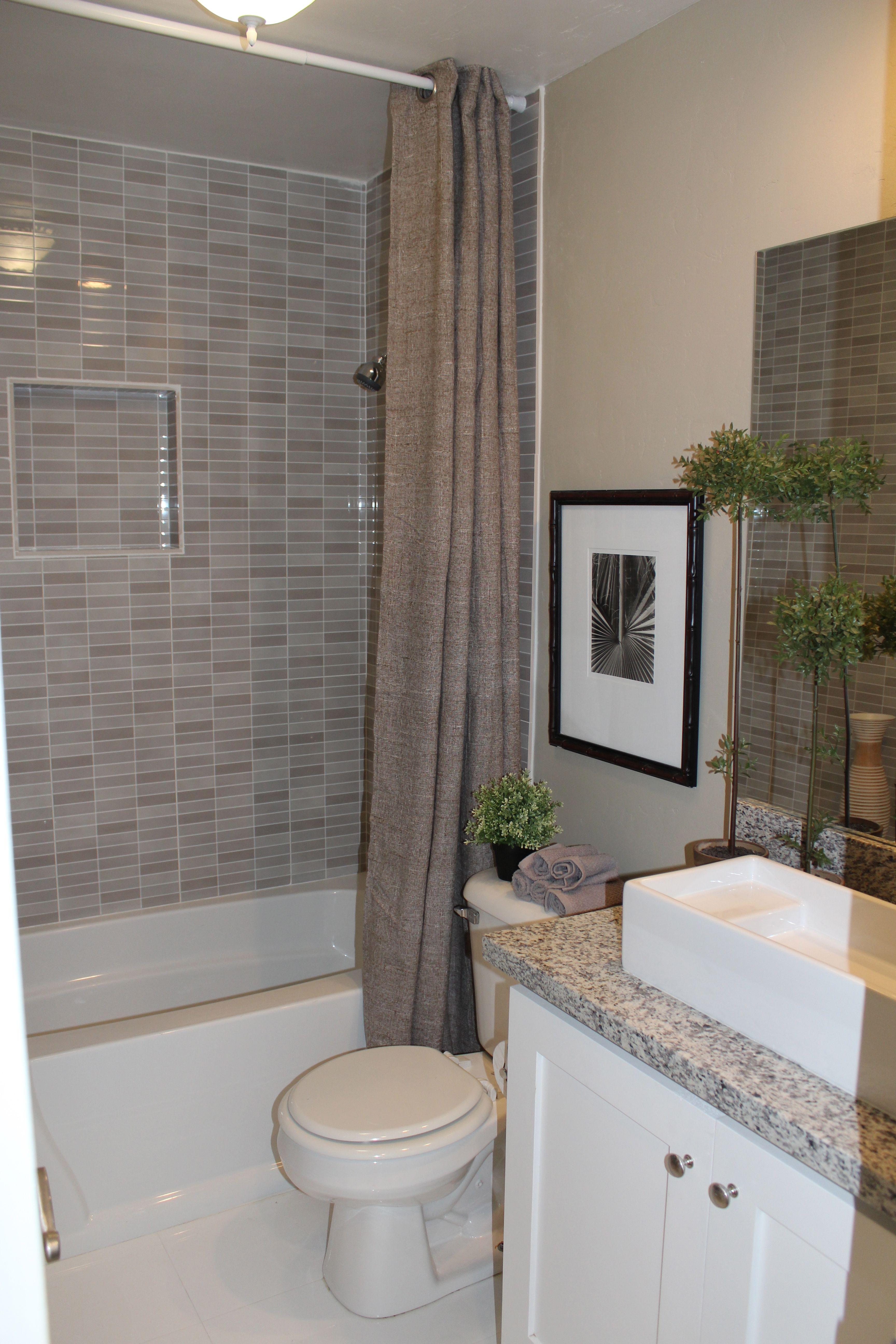 bathroom interior gray marble subway tile wall panelling - Subway Tile House Interior