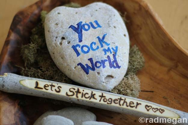 Sticks & Stones: A Frugal & Outdoorsy Valentine's Day Craft - Radmegan
