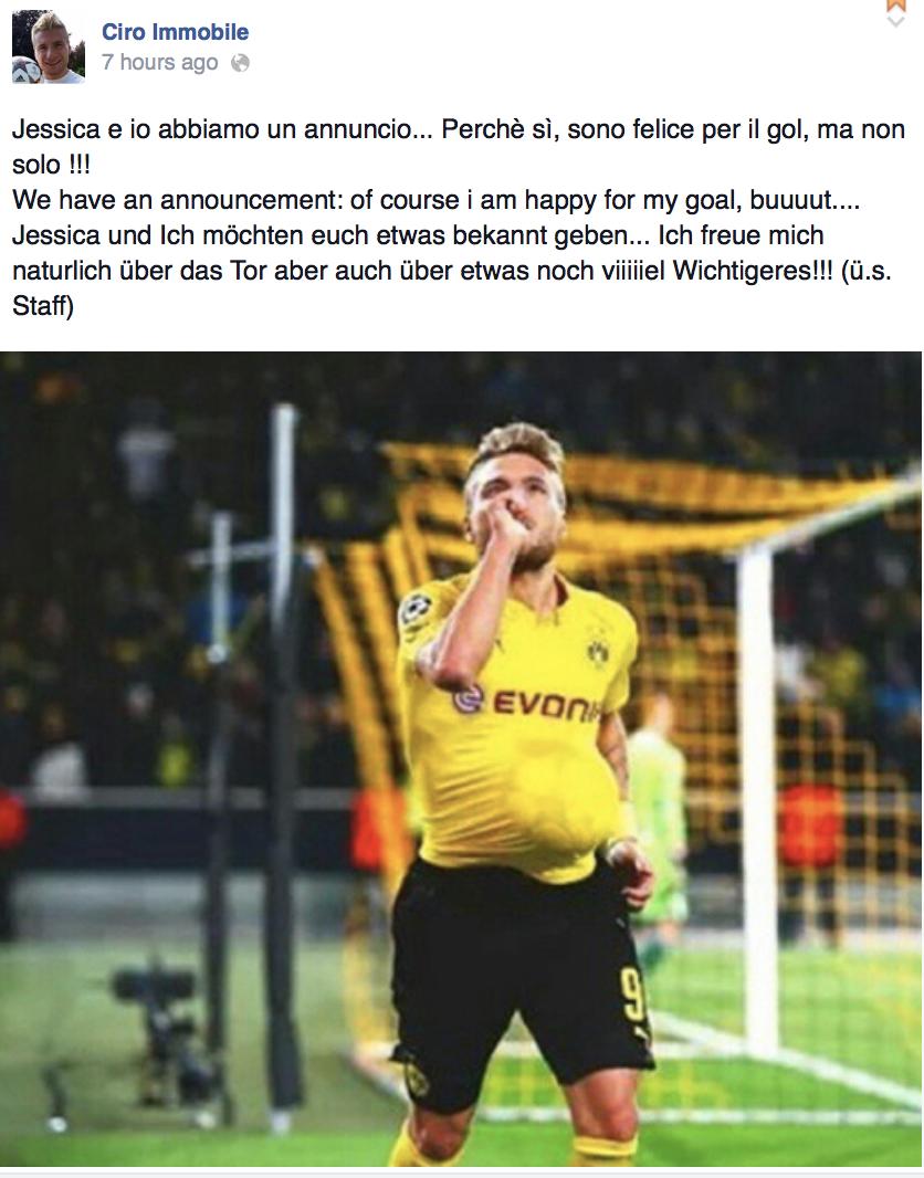 Familysportlove Thejedianakin Familie Immobile It S Official Ciro And Jessica Are Expecting Baby 2 Borussia Dortmund Dortmund Striker