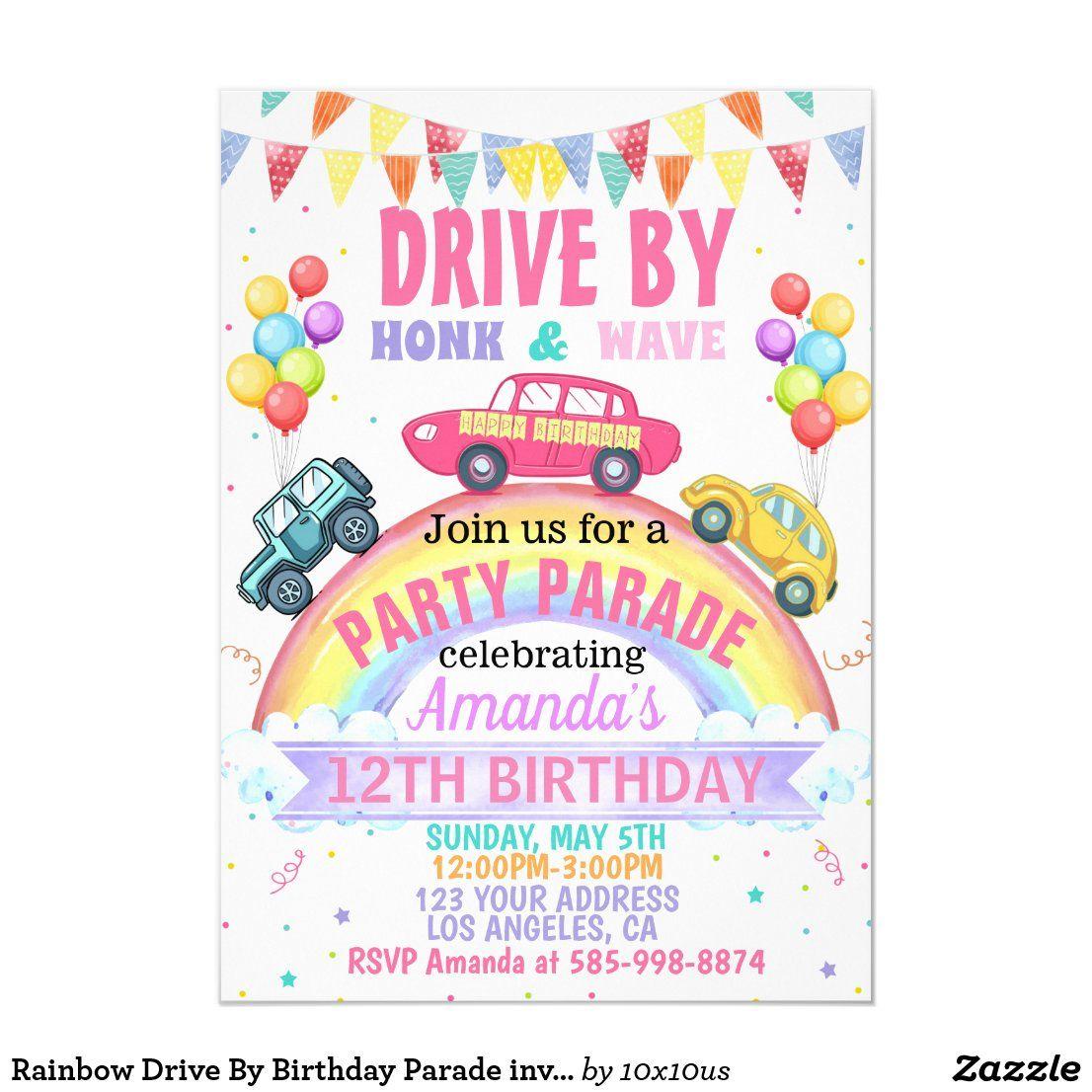 Rainbow Drive By Birthday Parade invitation
