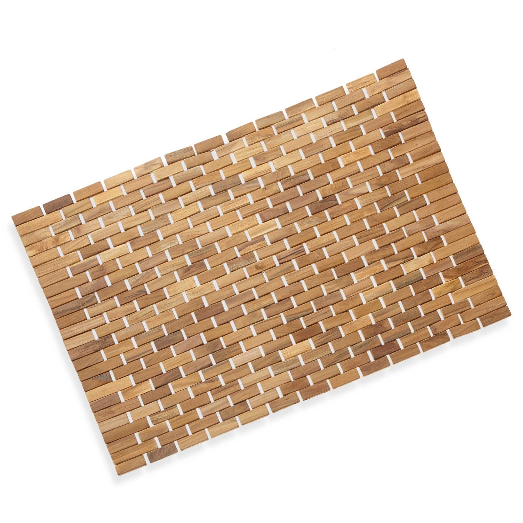Conair 174 Pollenex Solid Teak Roll Up Shower Mat Bamboo