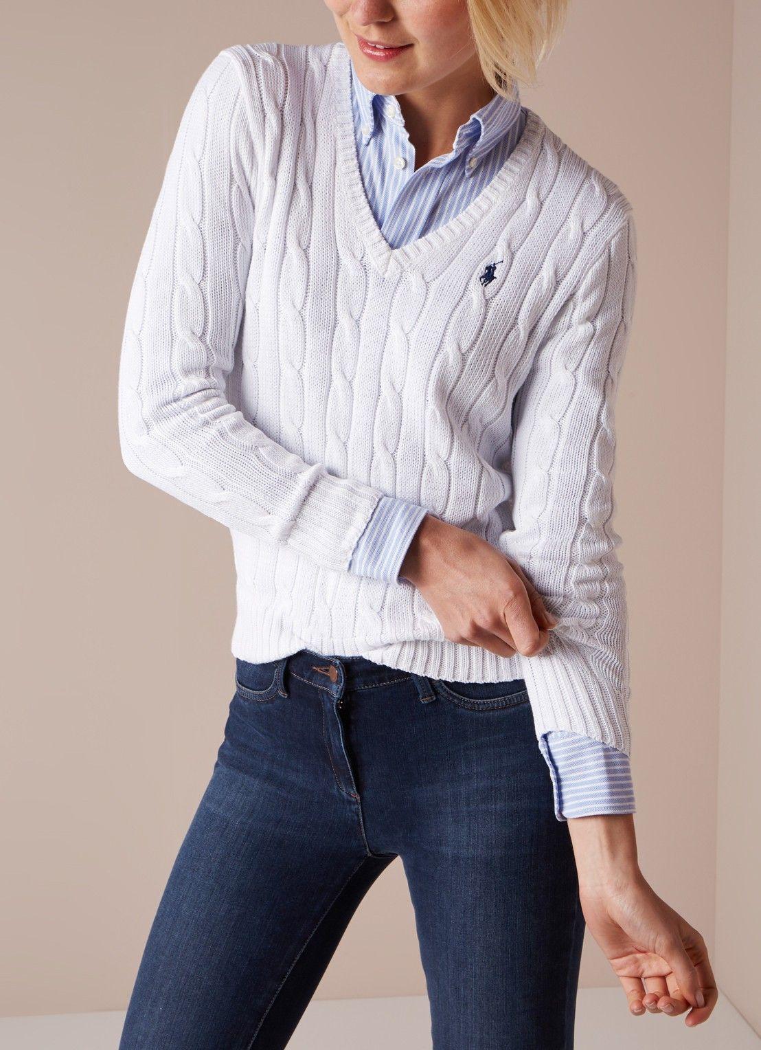 Ralph Lauren Classic kabelgebreide pullover met V-hals • Wit • de Bijenkorf