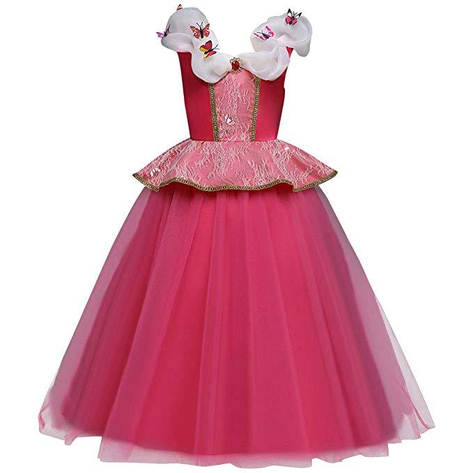 Kid Girl Cinderella Princess Dress Halloween Aurora Cosplay Costume Pegeant Xmas