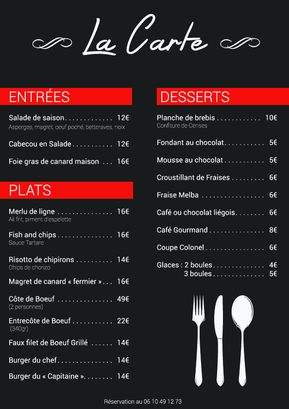 Carte Du Restaurant Bar Plage Le Port A Montauban Carte Restaurant