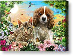 Kitten And Puppy Canvas Print by Adrian Chesterman