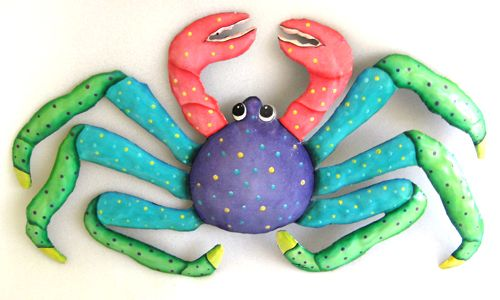 Painted Metal Crab Wall Hanging Tropical Decor Beach Decor Coastal Wall Decor 13 X 22 Tropical Decor Tropical Wall Decor Outdoor Metal Art