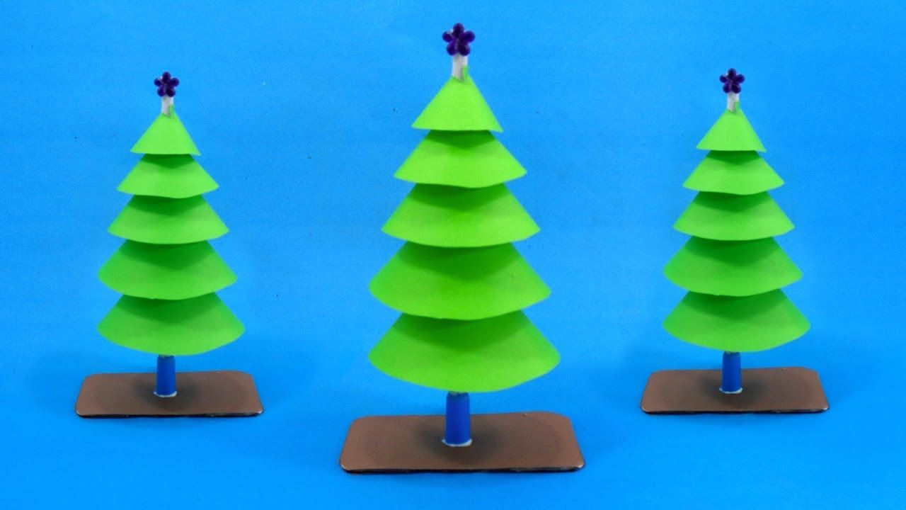 Easy Paper Christmas Decorations Christmas Tree Making With Color Paper Paper Christmas Decorations How To Make Christmas Tree Easy Christmas Crafts