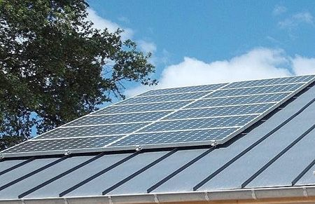 Crystalline Solar Panels Mounted On A Standing Seam Roof