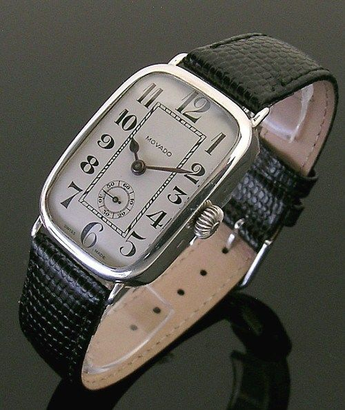 1917 Silver Rectangular Vintage Movado Watch Watches For