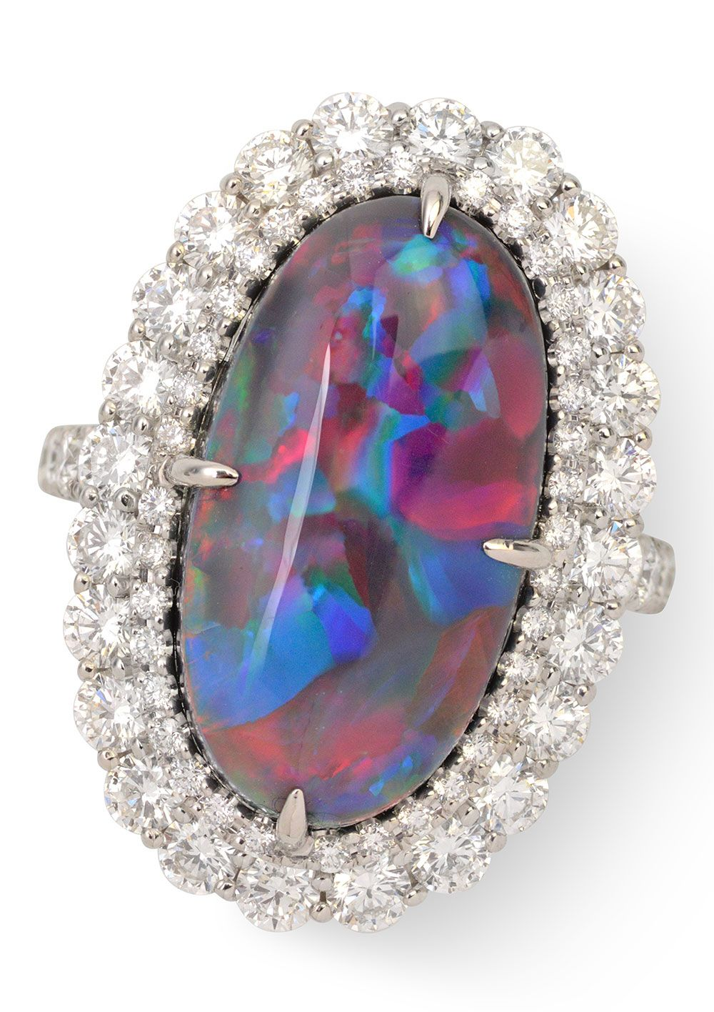 9.70 ct Australian Lightning Ridge Black Opal & 2.48 ctw Diamond PT950 12.62gr Ring Size 6.5 We offer a large selection of engagement rings whether you are a traditionalist and are seeking that perfect diamond or a colored gemstone ring, such as sapphire, ruby, or emerald. Fine, designer merchandise, rare gemstones, estate
