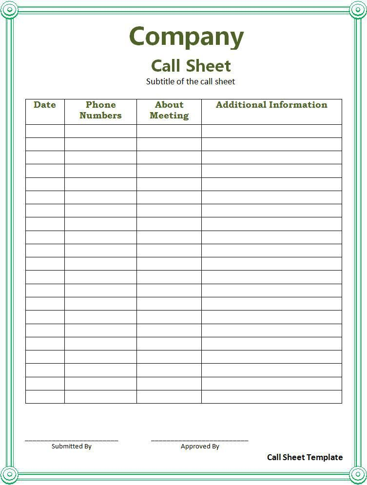 Call Sheet Template  Wordstemplates    Template