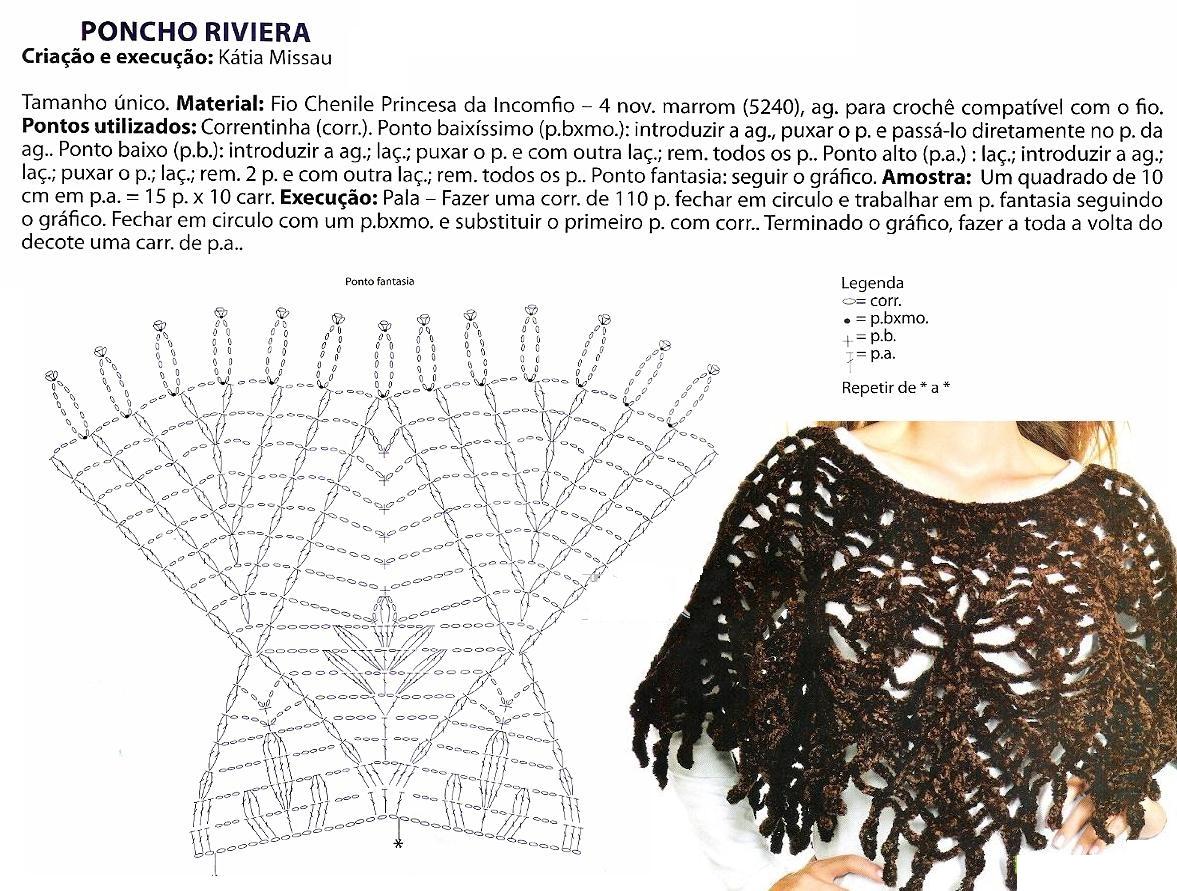 Poncho Riviera para noche frias patron - Patrones Crochet | YO Baby ...