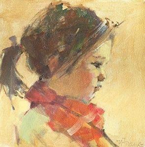 Red Scarf by Nancy Franke Oil ~ 10 x 10