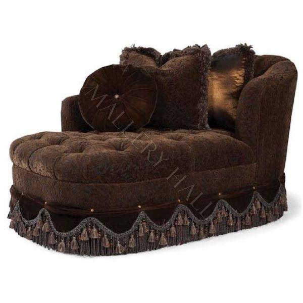 Celina Brown Tufted Fabric Fringe Tassel Skirted Chaise
