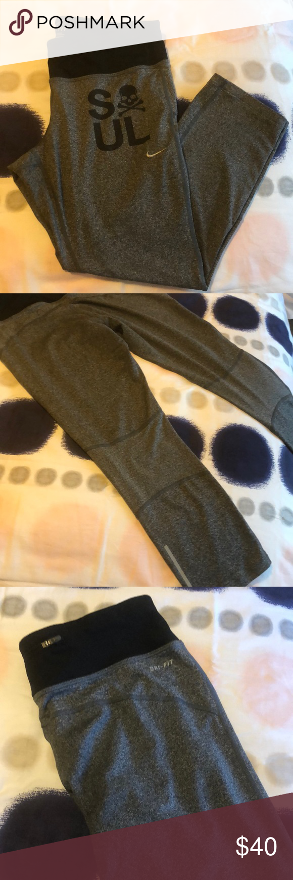 on sale a3dd7 83836 Nike x SoulCycle Dri-Fit Capris. Black waistband with drawstring and pocket  in rear. Heathered grey leg with black SoulCycle wordings and skull  branding.